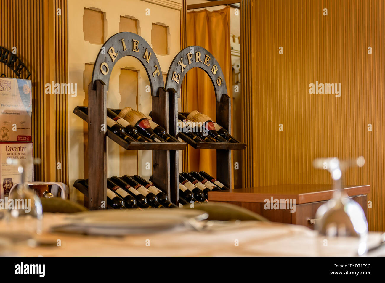 A wine rack in the Sirkeci terminal restaurant. The Orient Express train leaves from this station. - Stock Image