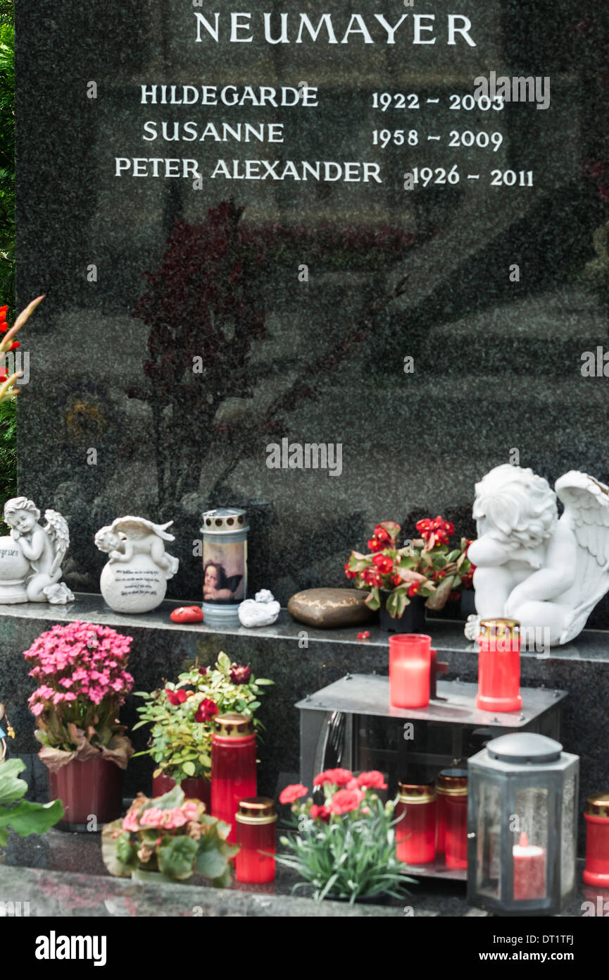 graveside of austrian singer and entertainer peter alexander, grinzing cemetery, vienna, austria - Stock Image