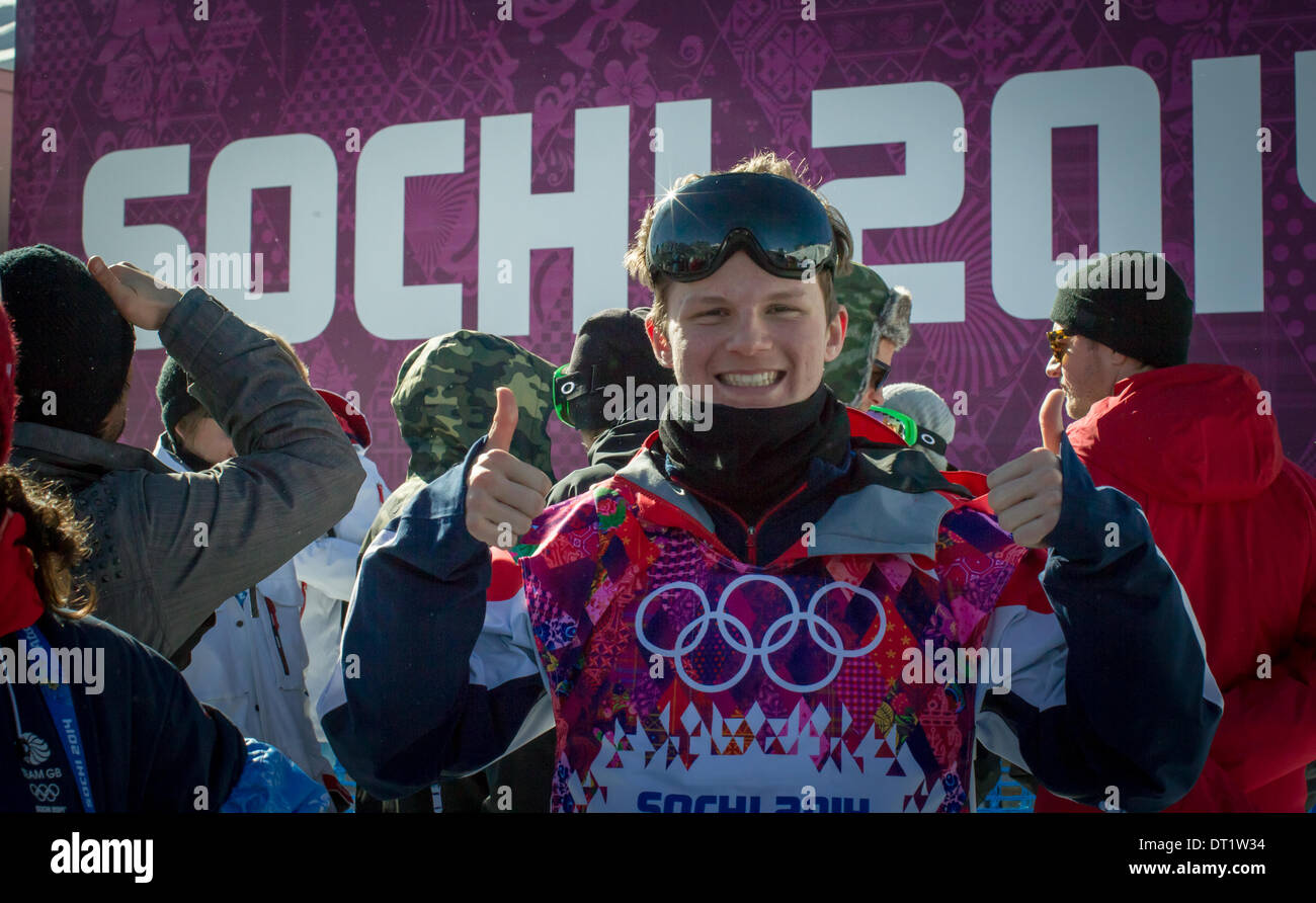 Sochi, Russia. 6th February 2014. Olympic Winter Games Sochi2014. Men's snowboard Slopestyle Qualifications. An elated Jamie Nicholls (GBR) earned a solid 4th place overall amongst the world's finest snowboarders. Credit:  Action Plus Sports Images/Alamy Live News - Stock Image