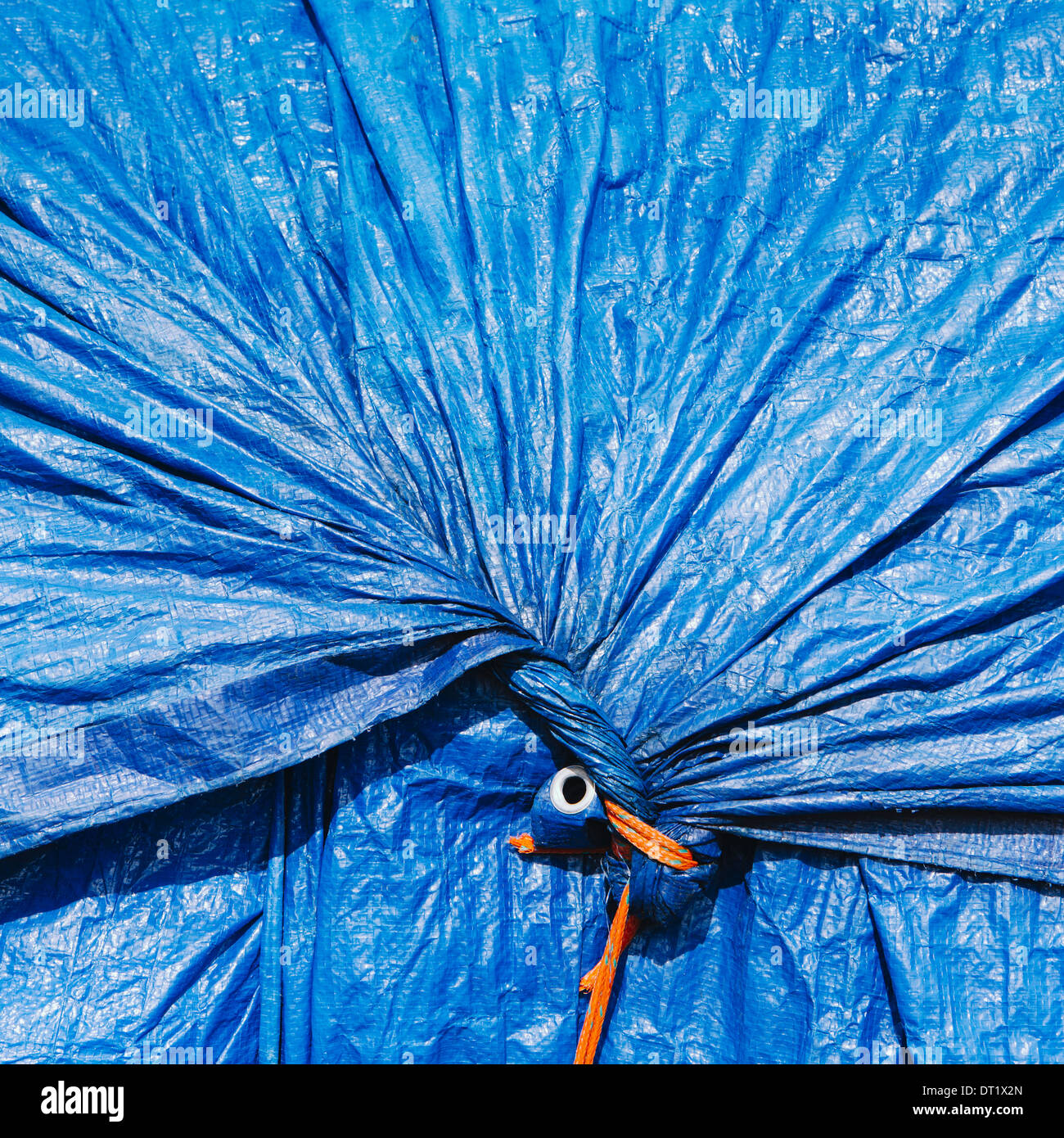 A blue tarpaulin gathered and tied with rope as a covering over piles of commercial fishing nets Fisherman's Terminal Seattle - Stock Image
