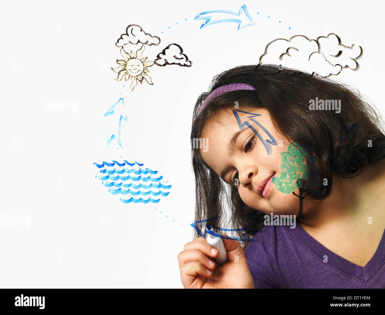 A young girl drawing the water evaporation cycle on a clear see through surface with a market pen - Stock Image