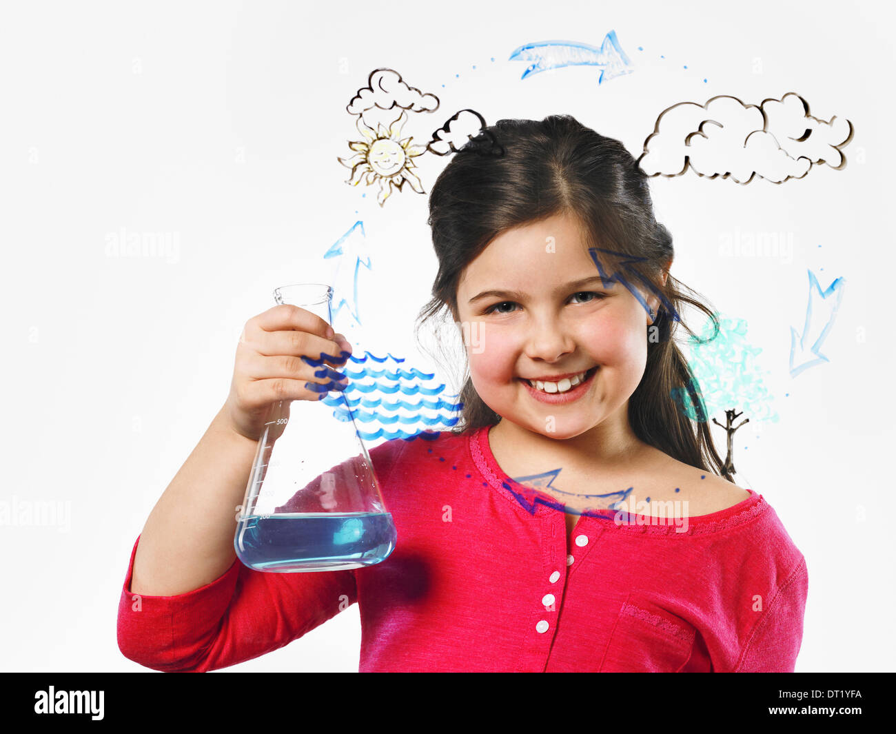 A young girl holding a conical flask of blue liquid in front of an evaporation cycle illustration drawn on a clear surface - Stock Image