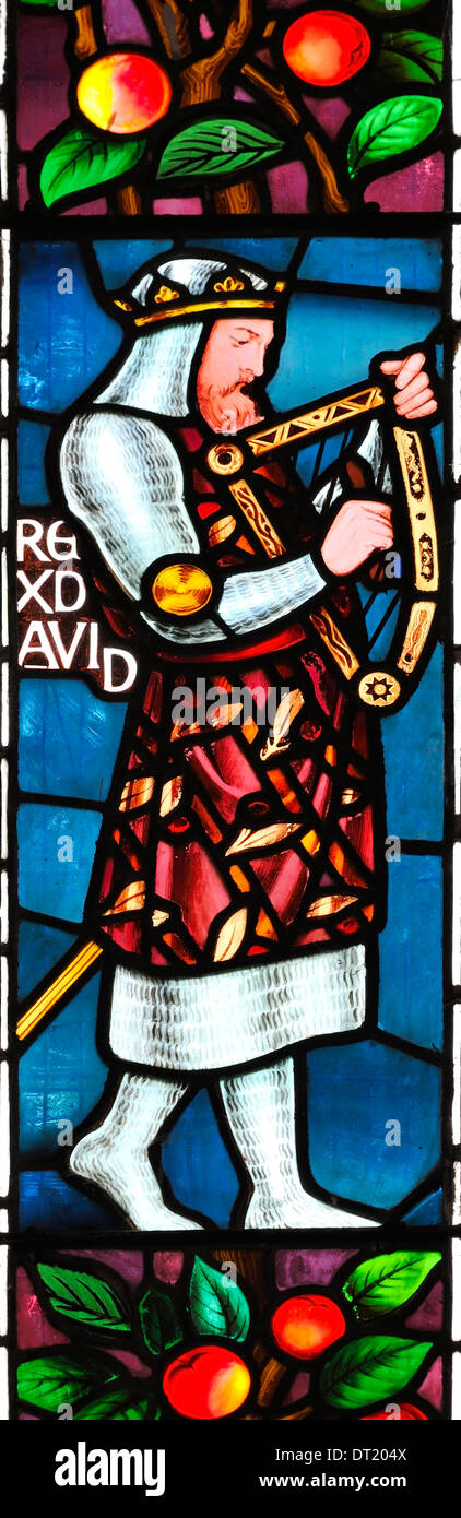 The righteous King David depicted in stained glass in St. James Church, Winscombe, Somerset, England - Stock Image