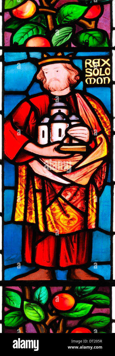 King Solomon, commissioner of great buildings, depicted in stained glass in St. James Church, Winscombe, Somerset, Stock Photo