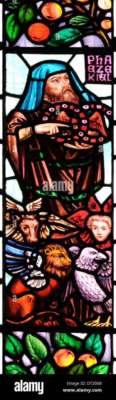 Ezekiel the Prophet, exiled visionary, depicted in stained glass, St. James Church, Winscombe, Somerset, England - Stock Image