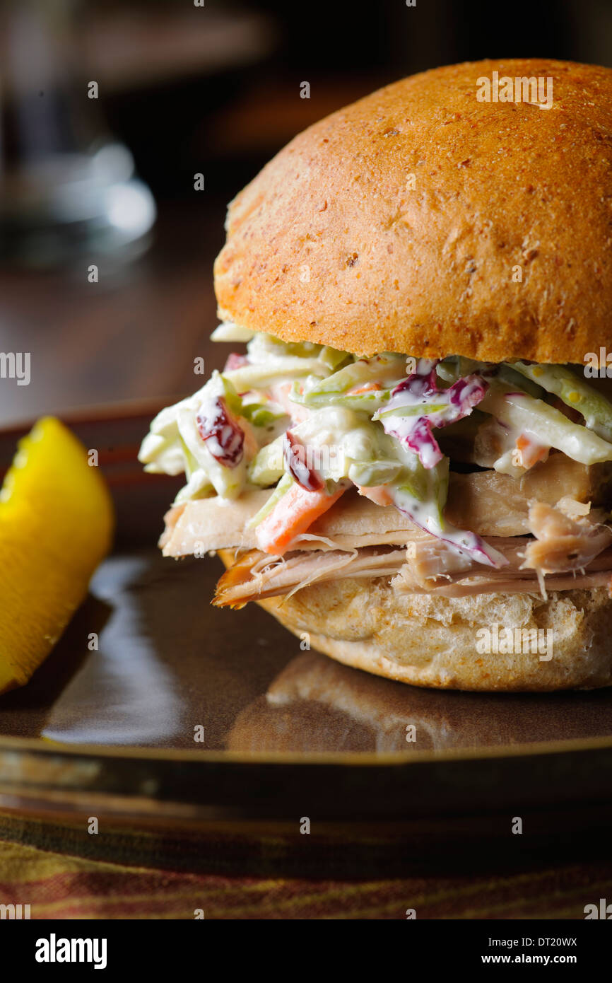 Pulled Pork Sandwich With Coleslaw - Stock Image