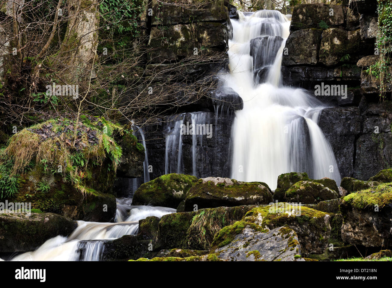 Cliff Beck, a layered waterfall near Thwaite, Yorkshire Dales National Park, England - Stock Image