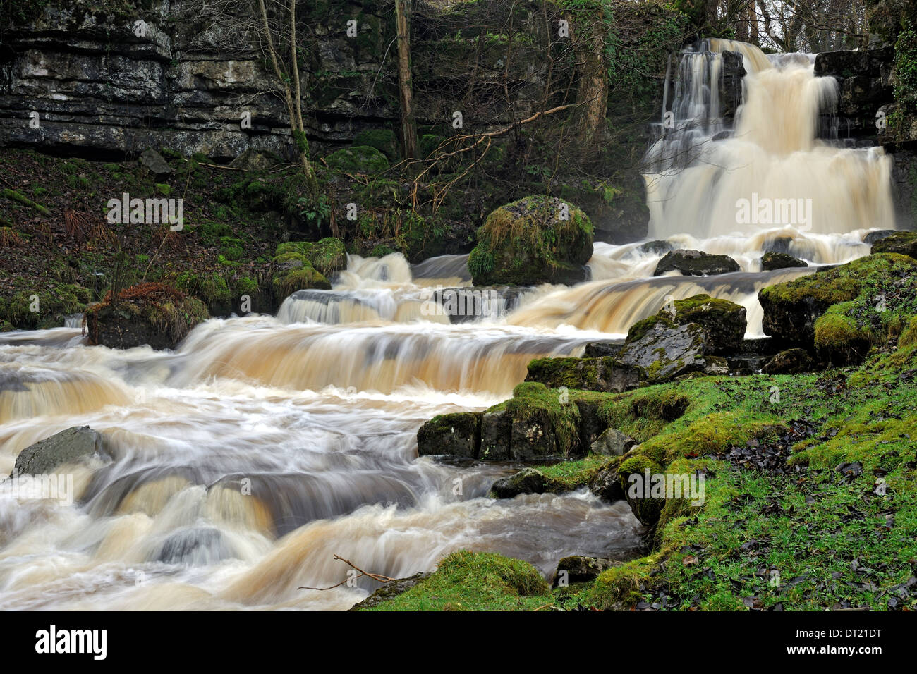 Cliff Beck, a stepped waterfall near Thwaite, Yorkshire Dales National Park, England - Stock Image