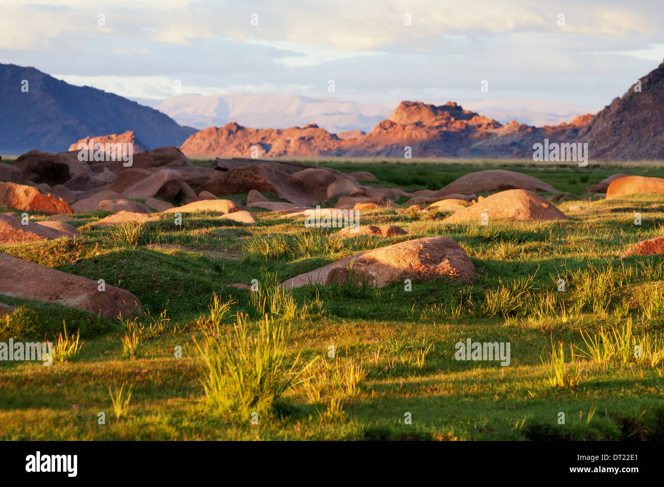 Morning in the valley of Khovd river, Western Mongolia - Stock Image