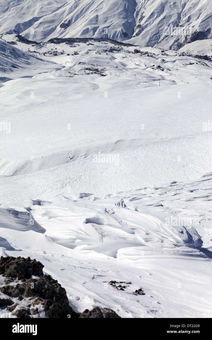 Top view on off-piste slope. Ski resort Gudauri. Caucasus Mountains, Georgia. - Stock Image