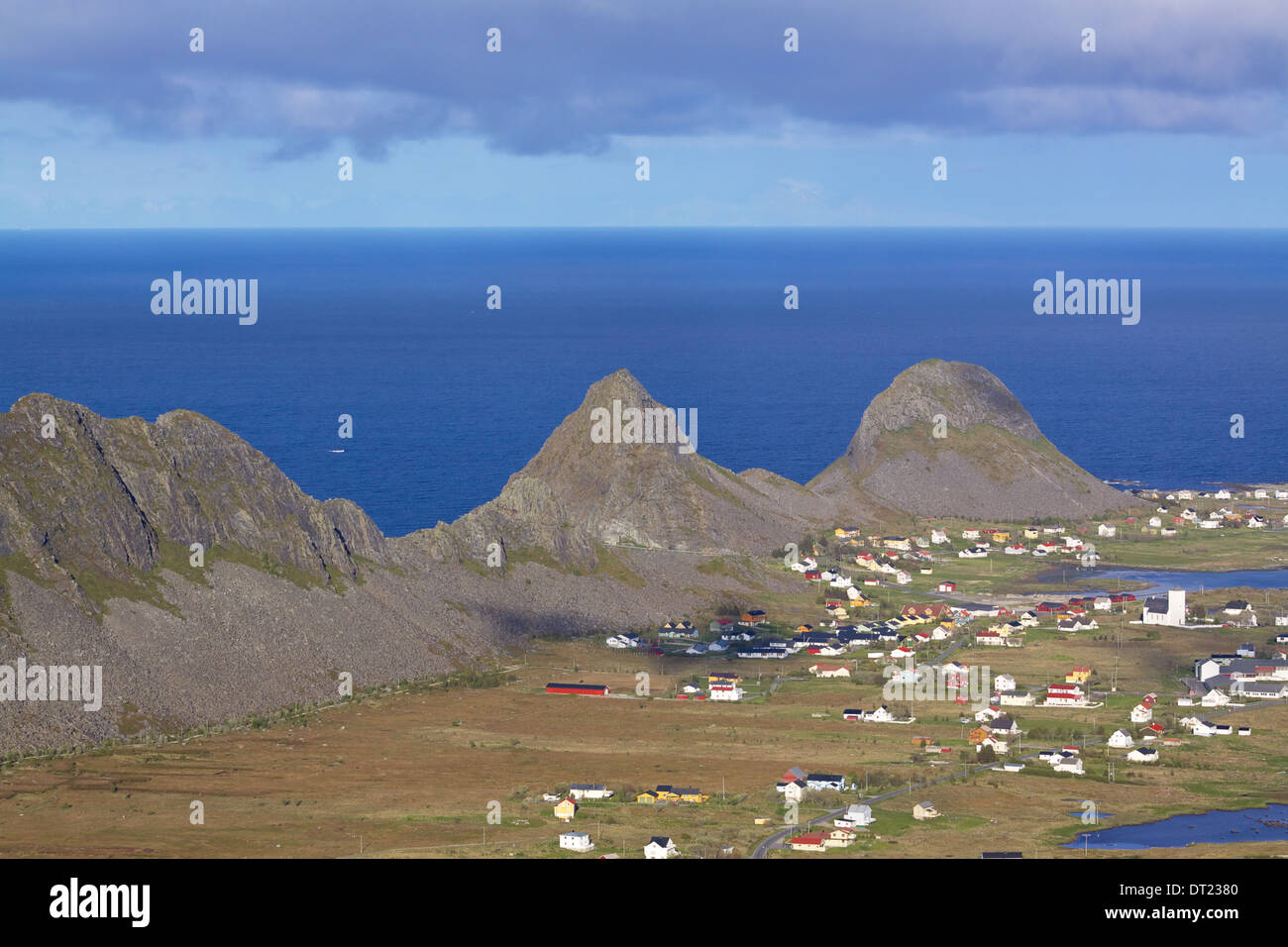 Picturesque fishing town of sorland on remote island of Vaeroy, Lofoten islands in Norway - Stock Image