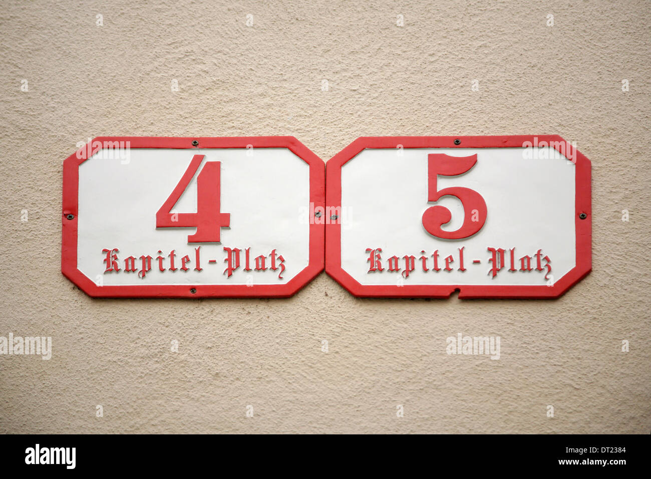 Numbers on house stock photos numbers on house stock images alamy house numbers on kapitel platz salzburg austria stock image malvernweather