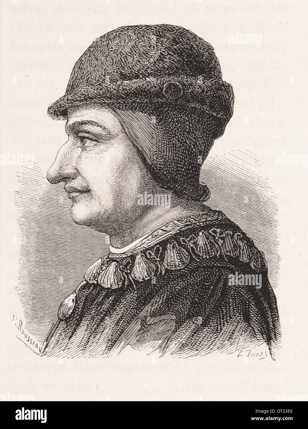 Portrait of Louis XI King of France - French engraving XIX th century - Stock Image