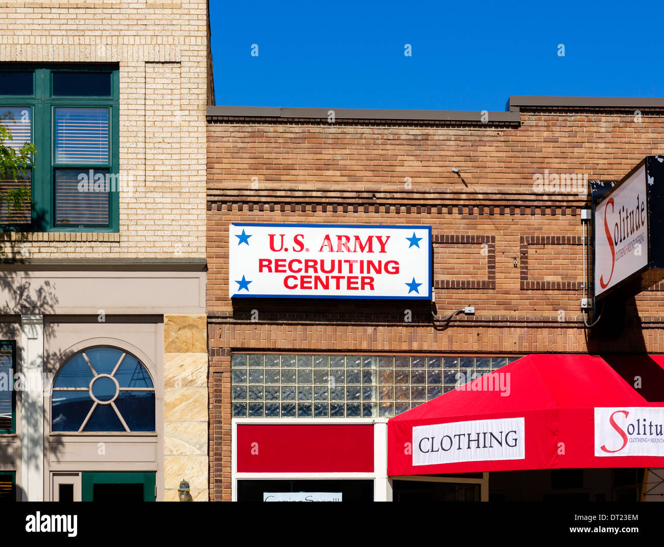 US Army Recruiting Center in downtown Sheridan, Wyoming, USA - Stock Image