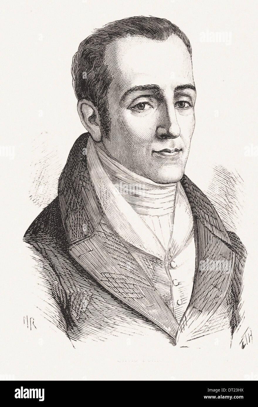 Portrait of Silvio - French engraving XIX th century - Stock Image