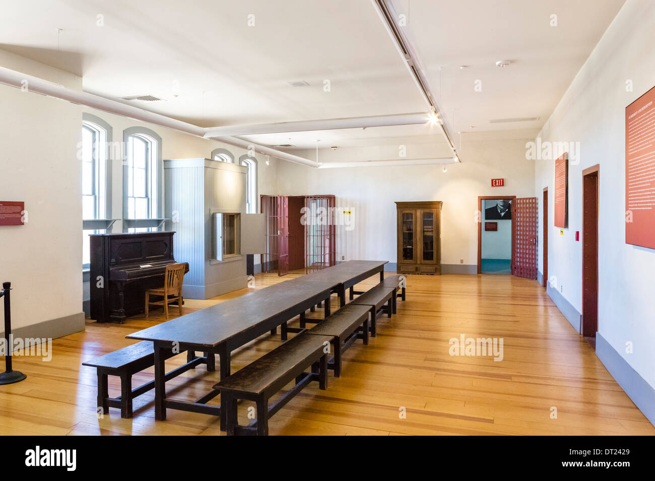 Interior of Wyoming Territorial Prison Museum, where the outlaw Butch Cassidy was once imprisoned, Laramie, Wyoming, USA - Stock Image