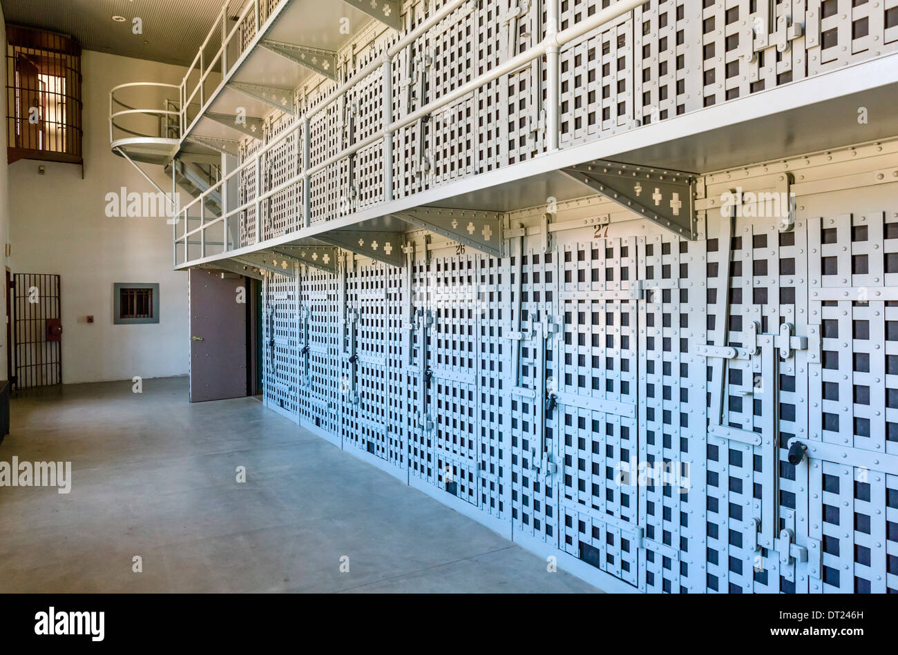 Cells in the Wyoming Territorial Prison Museum, where the outlaw Butch Cassidy was once imprisoned, Laramie, Wyoming, USA - Stock Image