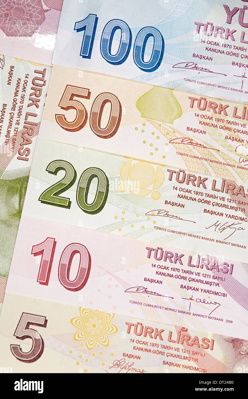 Turkish Currency, a close up of mixed Lira Notes. Stock Photo