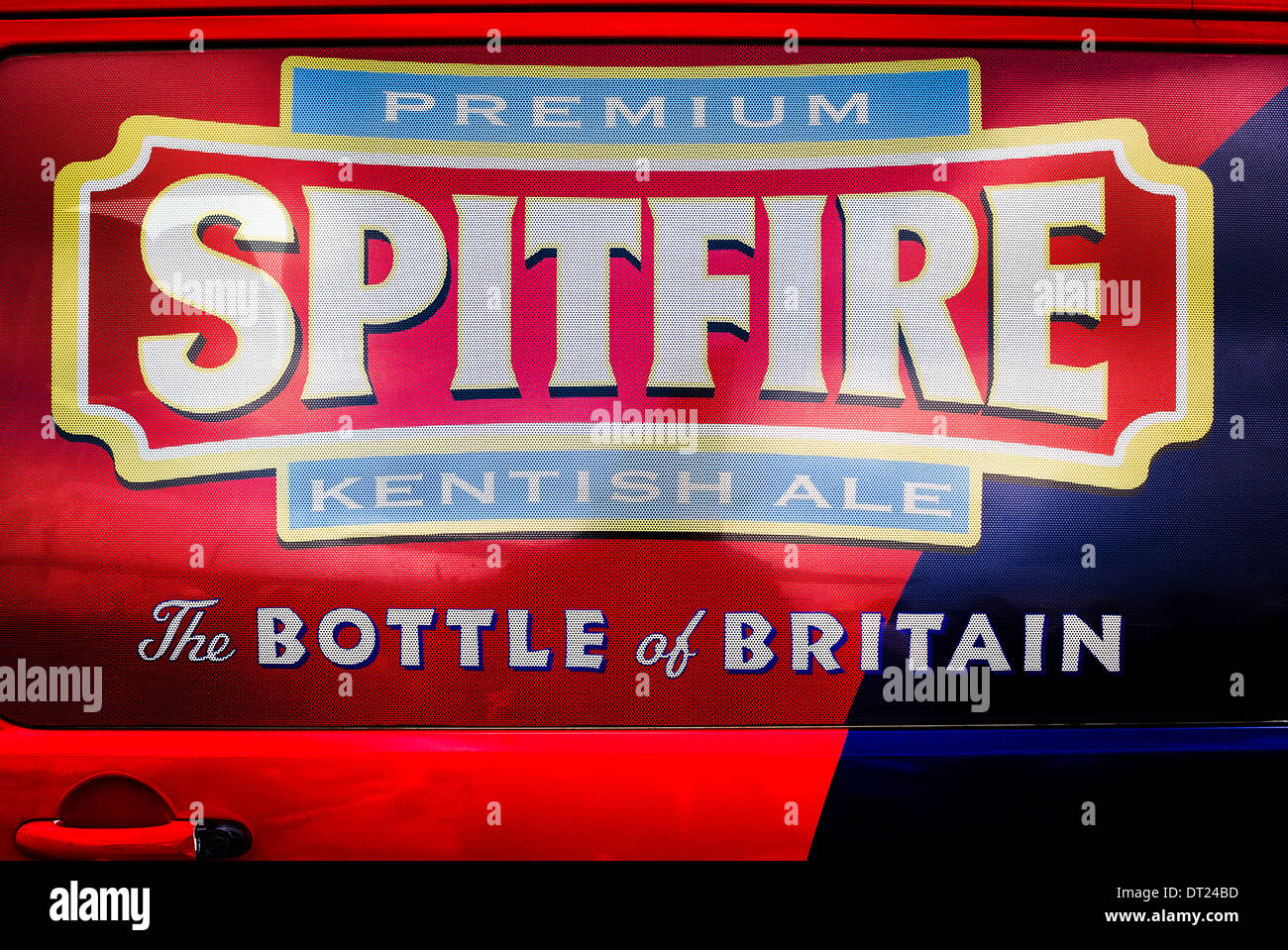 SPITFIRE Kentish ale promoted at an air show in UK on side of van serving drinks to visitors - Stock Image