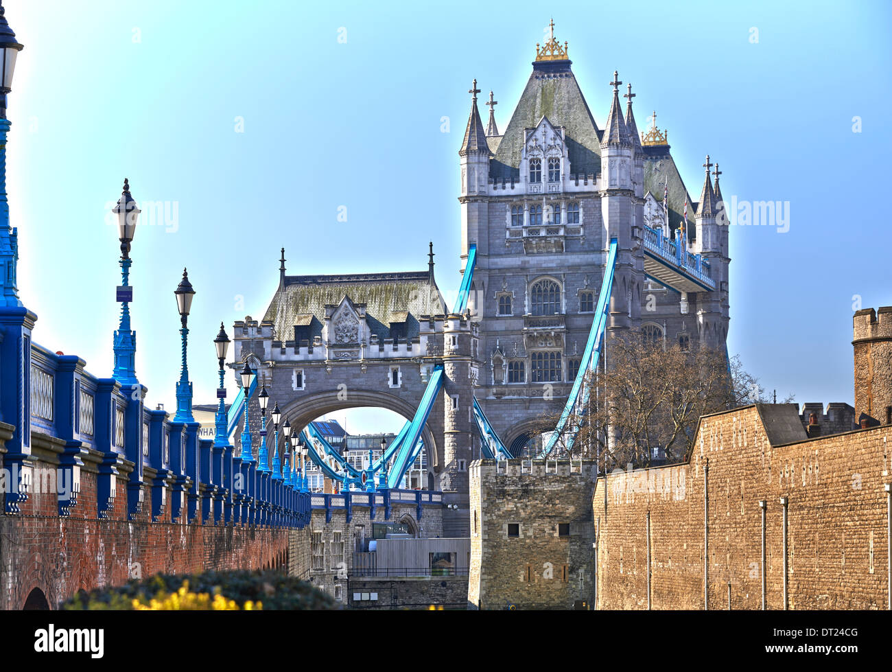 Tower Bridge (built 1886–1894) is a combined bascule and suspension bridge in London, over the River Thames - Stock Image