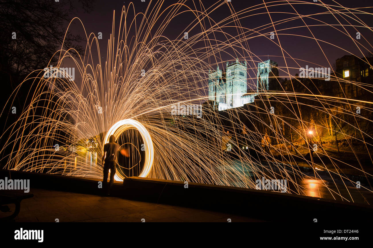 Light painting along the River Wear with the backdrop of Durham cathedral - Durham England - Stock Image