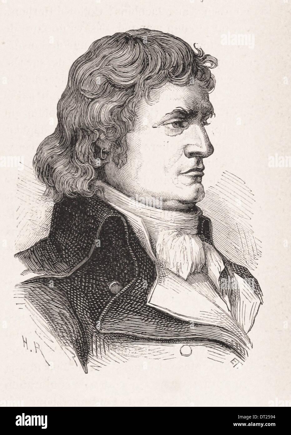Portrait of Jean-Bon-Saint-André - French engraving XIX th century - Stock Image
