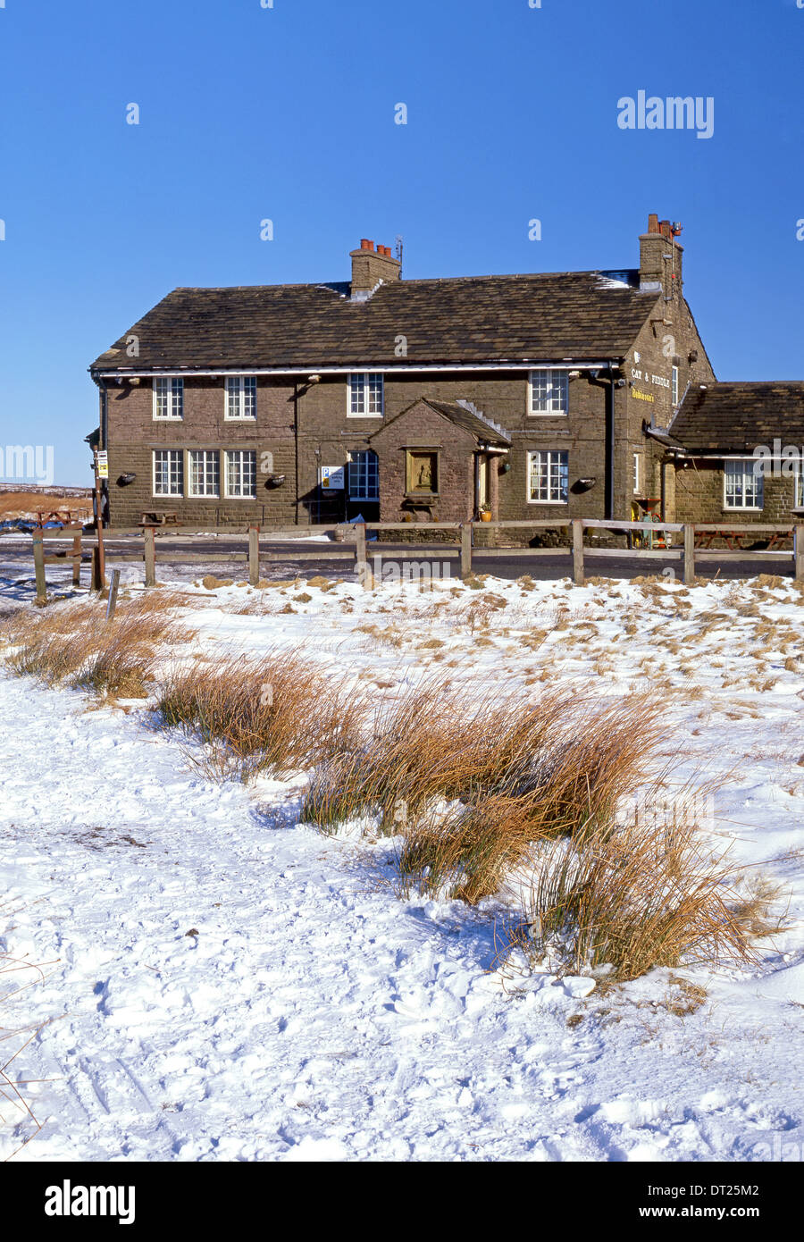 The Cat & Fiddle Inn in Winter, Cheshire, Peak District National Park, England, UK - Stock Image