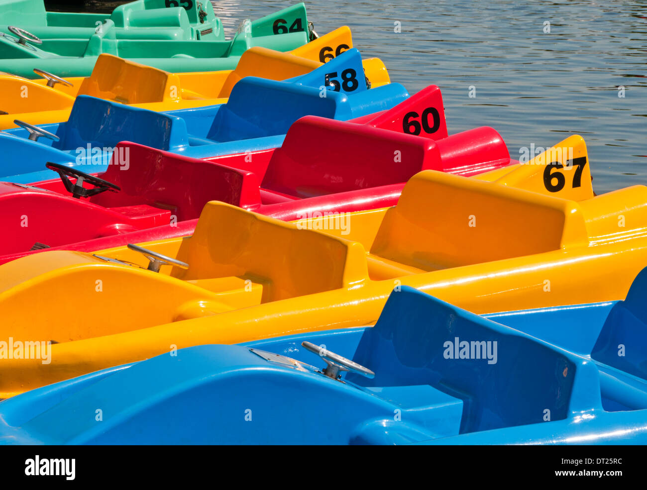 Colourful Pleasure Boats on The River Dee, The Groves, Chester, Cheshire, England, UK - Stock Image
