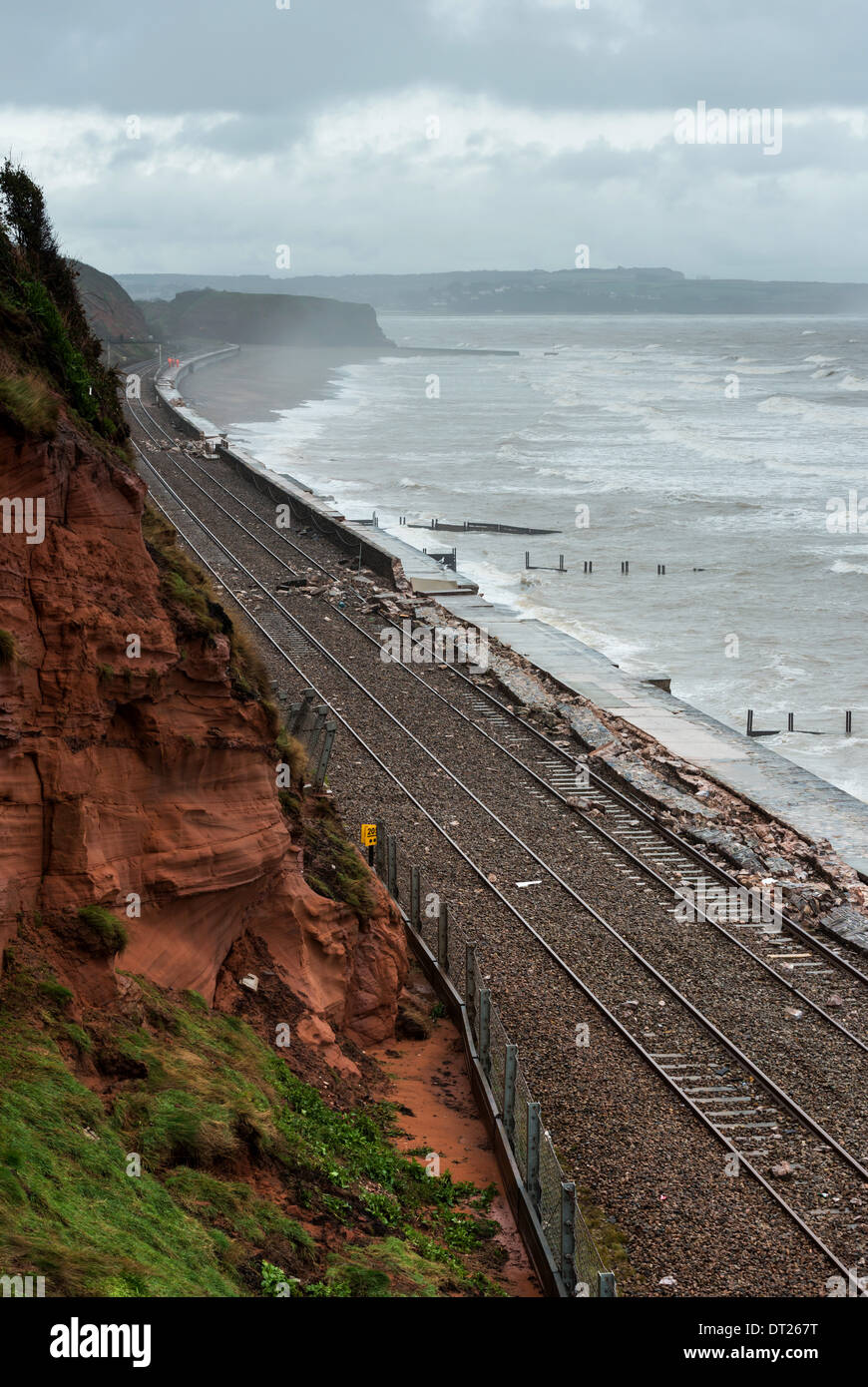 Dawlish,Devon,England. February 2014. The recent storms and high seas have created havoc along the sea defences at Dawlish coast - Stock Image