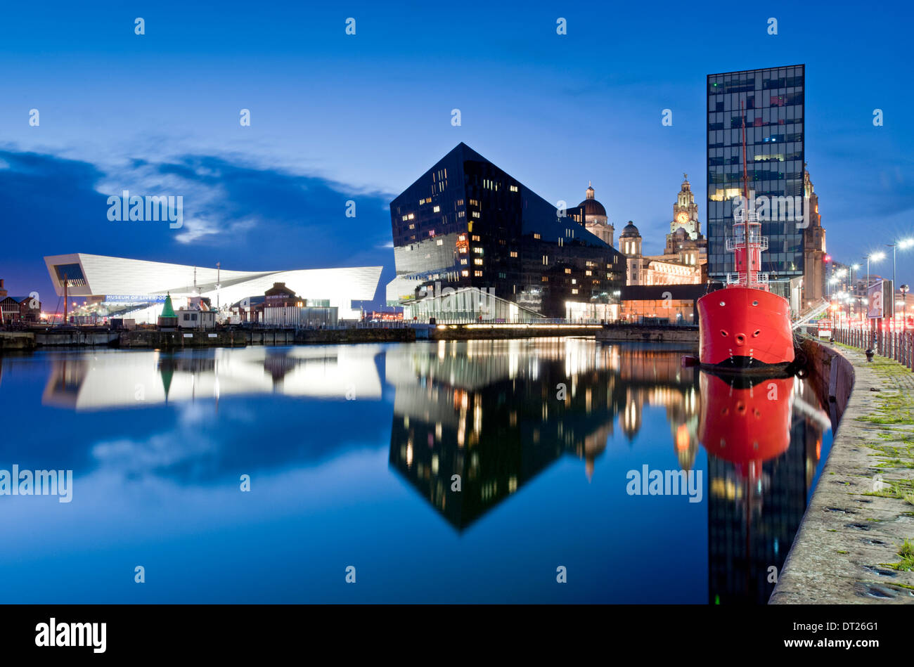 Liverpool Skyline at Night Viewed Over Canning Dock, Liverpool, Merseyside, England, UK - Stock Image