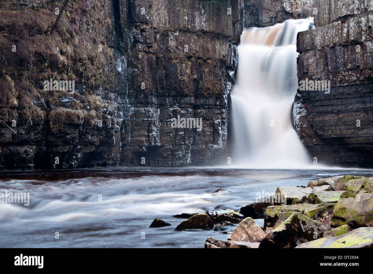 High Force Waterfall on the River Tees, near Middleton-in-Teesdale, Teesdale, County Durham, England, UK - Stock Image