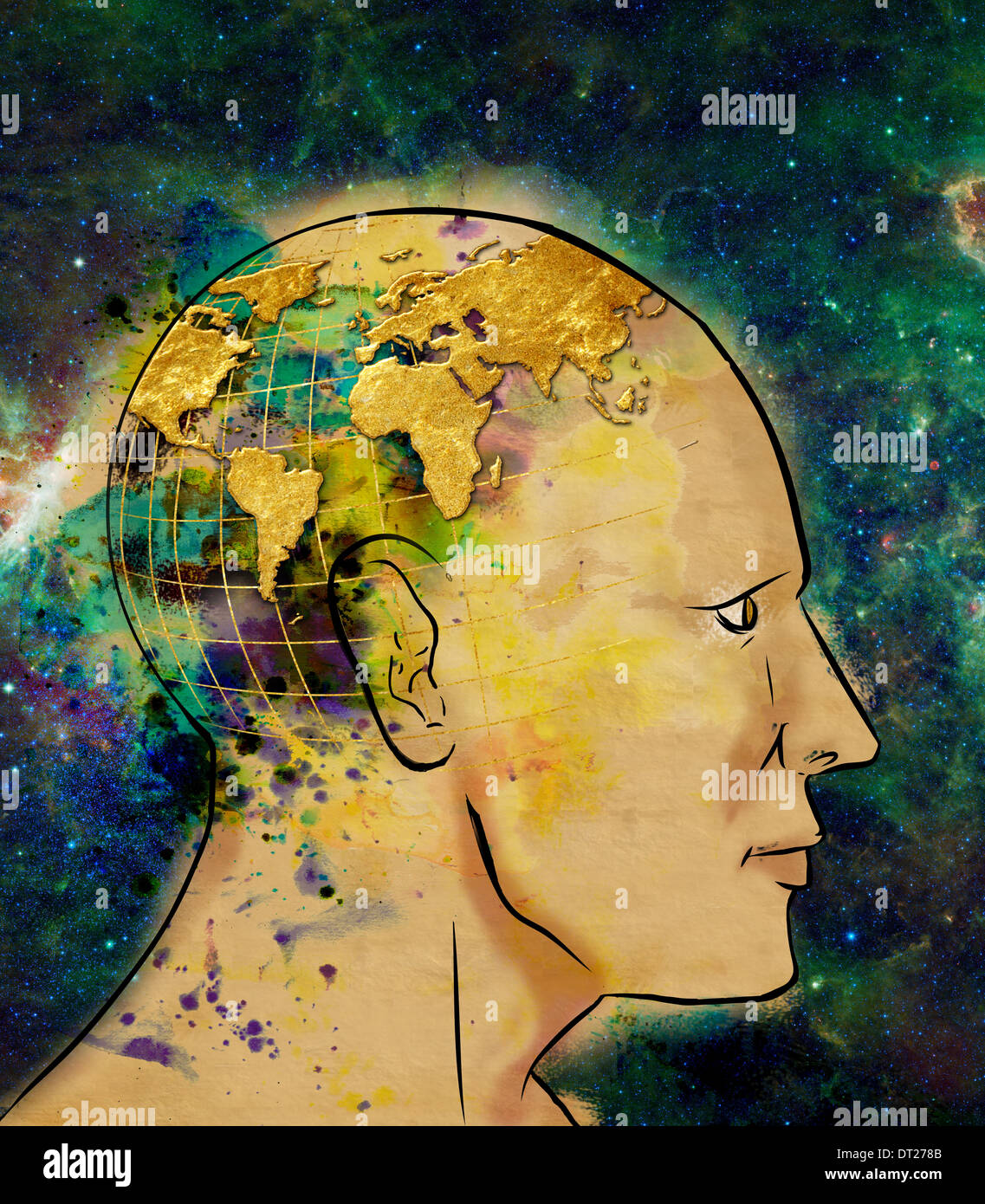 Illustrative image of man with world map on head representing globalization - Stock Image