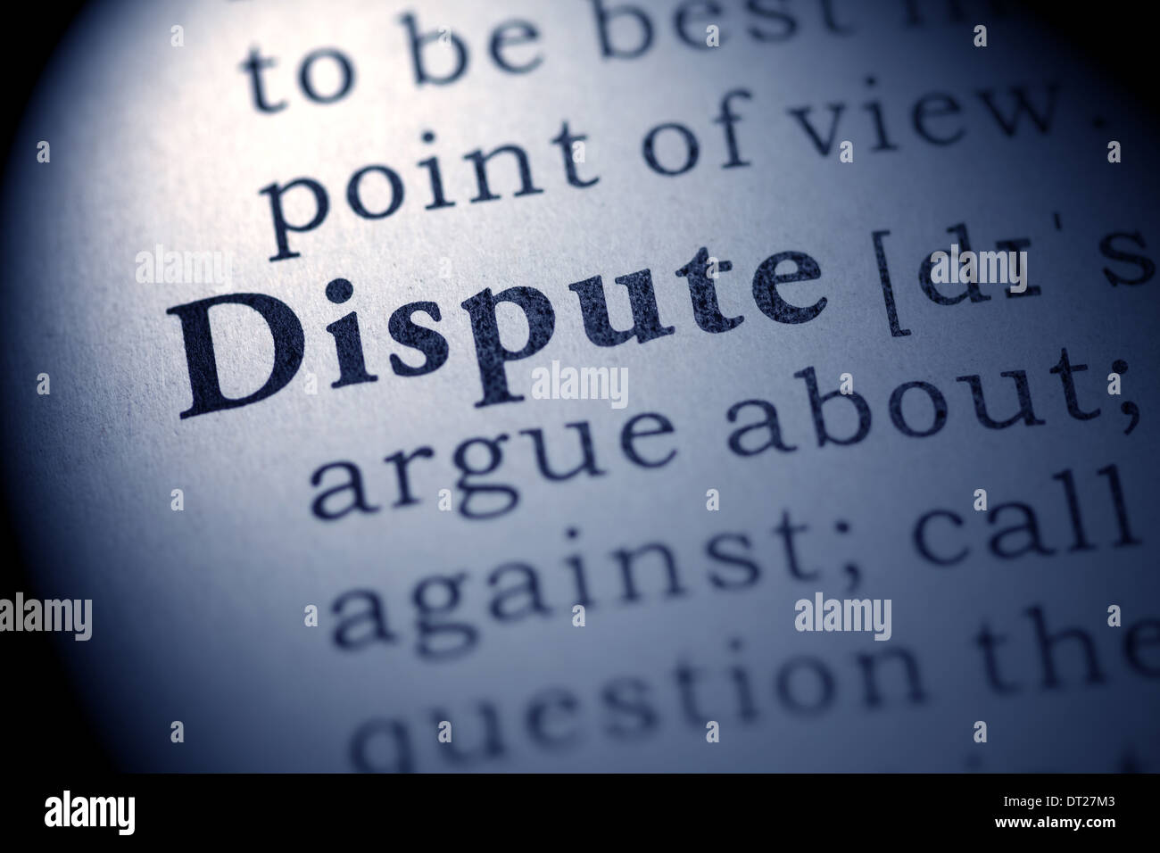 Fake Dictionary, definition of the word dispute. - Stock Image