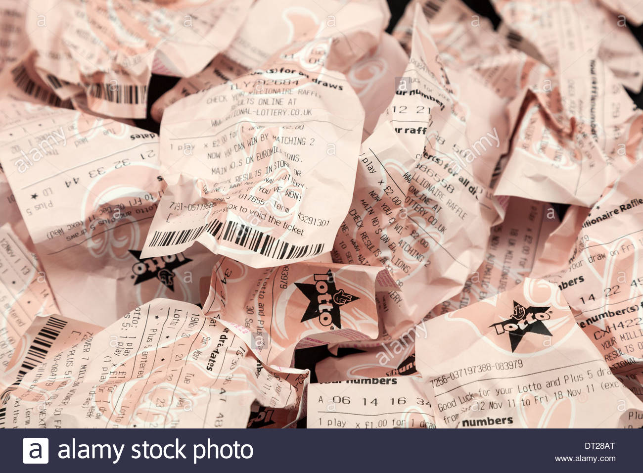 Screwed up lottery tickets - Stock Image