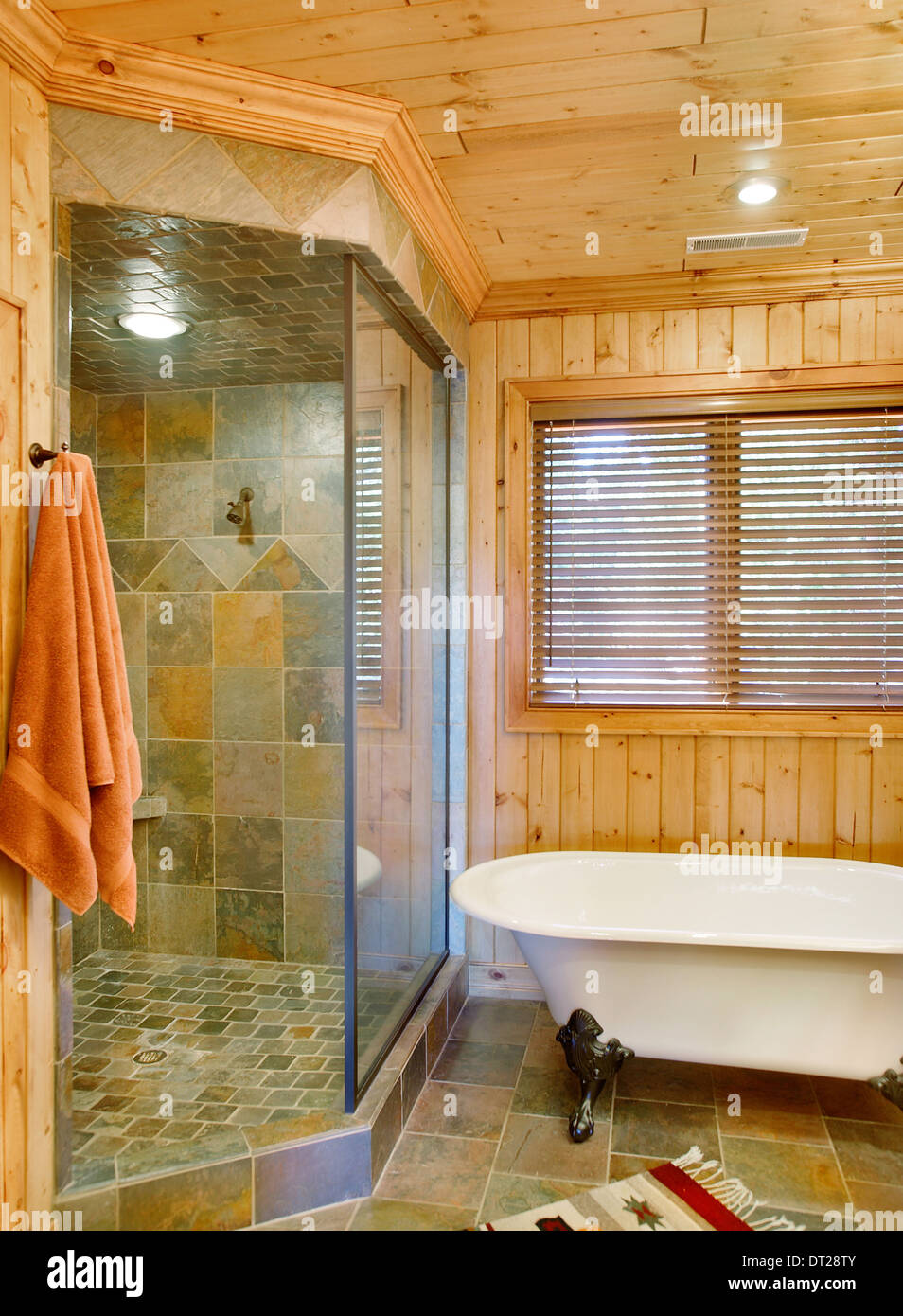 Claw foot tub and shower, - Stock Image