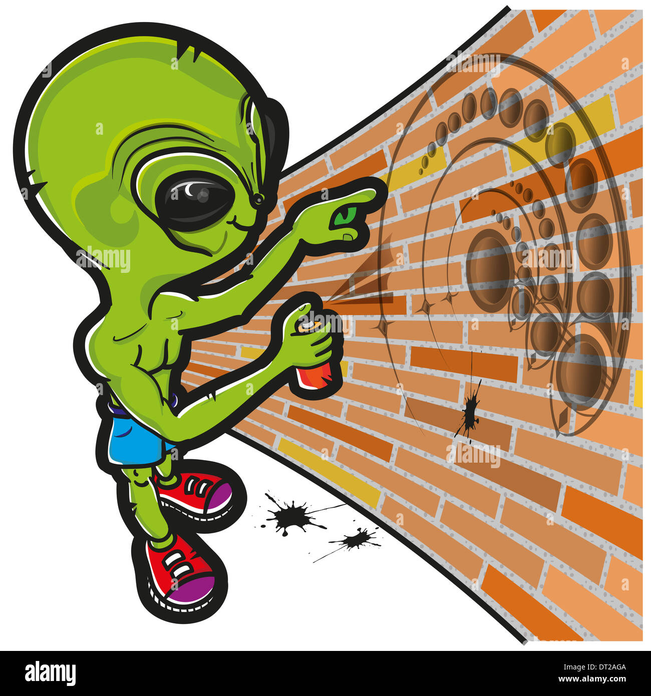 This file represents an alien that is drawing a crop circle in a wall. - Stock Image