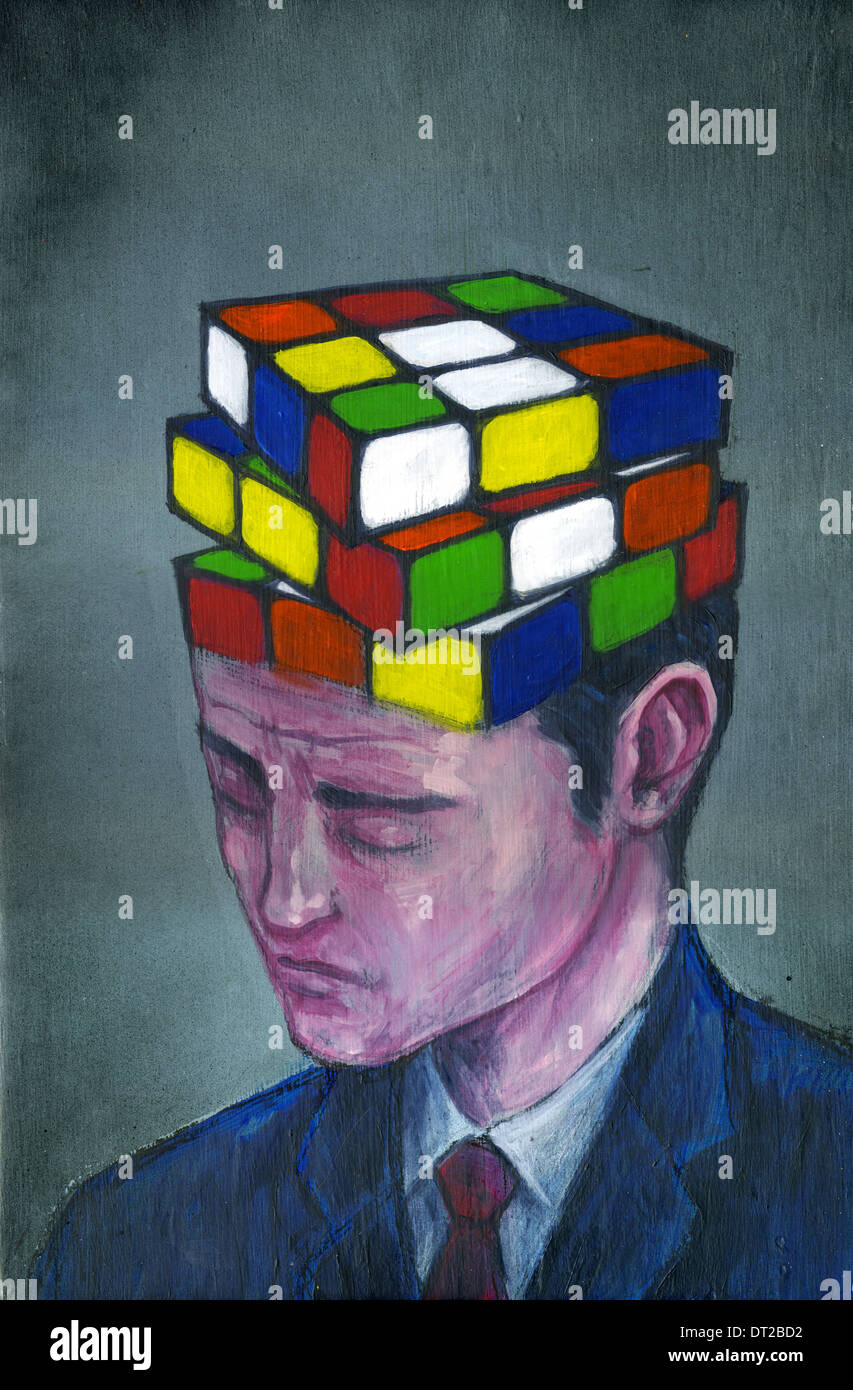 Illustrative image of businessman with block puzzle on his head representing confusion - Stock Image