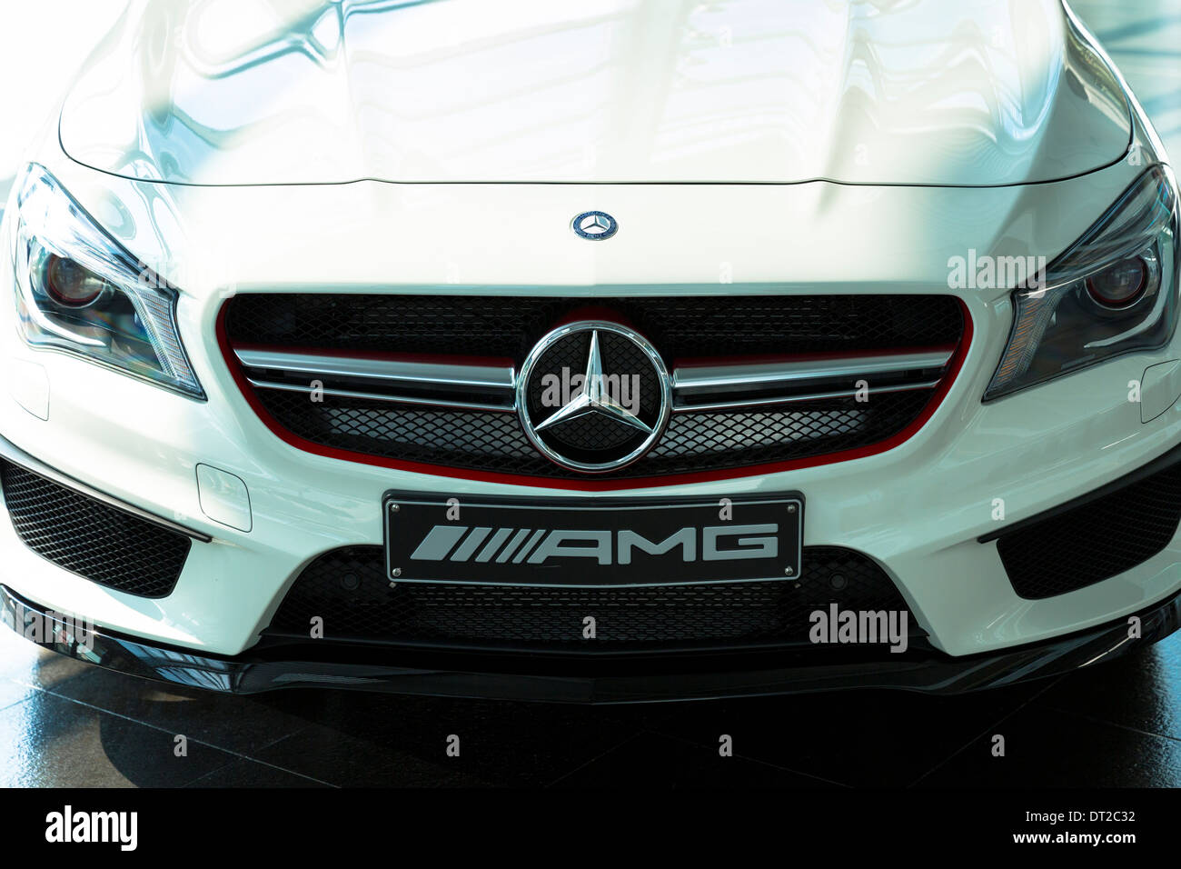 Mercedes-AMG CLA 45 AMG with latest 4 cylinder engine on display in showroom at engine factory in Affalterbach, Germany - Stock Image