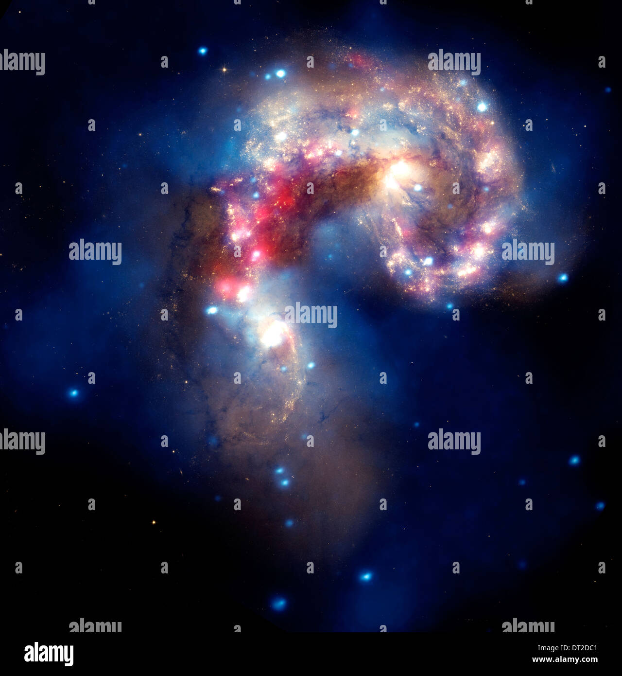 The two tangled Antennae galaxies,  located about 62 million light-years from Earth. - Stock Image