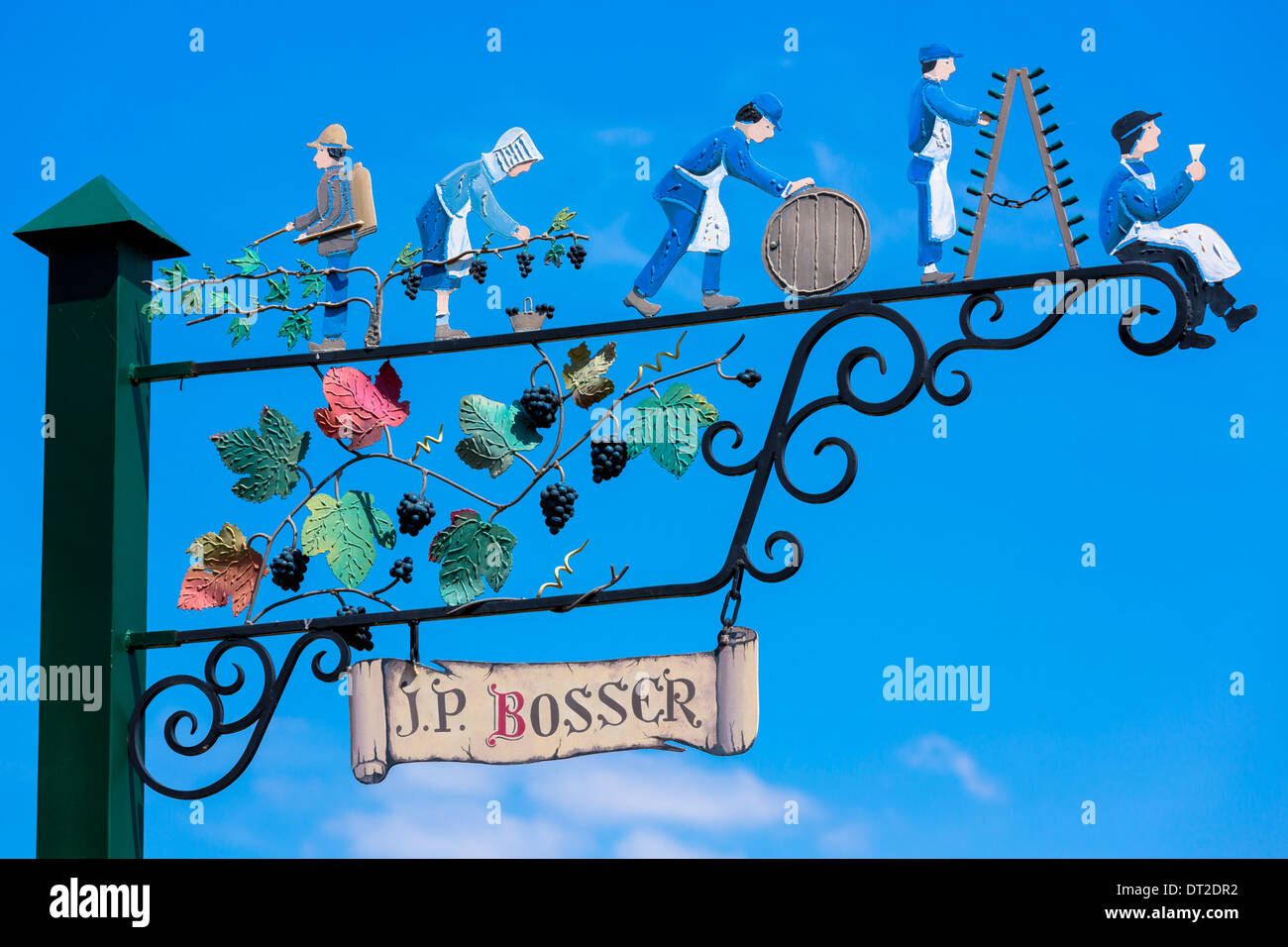 Sign showing champagne wine production at individual producer J.P. Bosser in Hautvillers near Epernay, Champagne-Ardenne, France - Stock Image