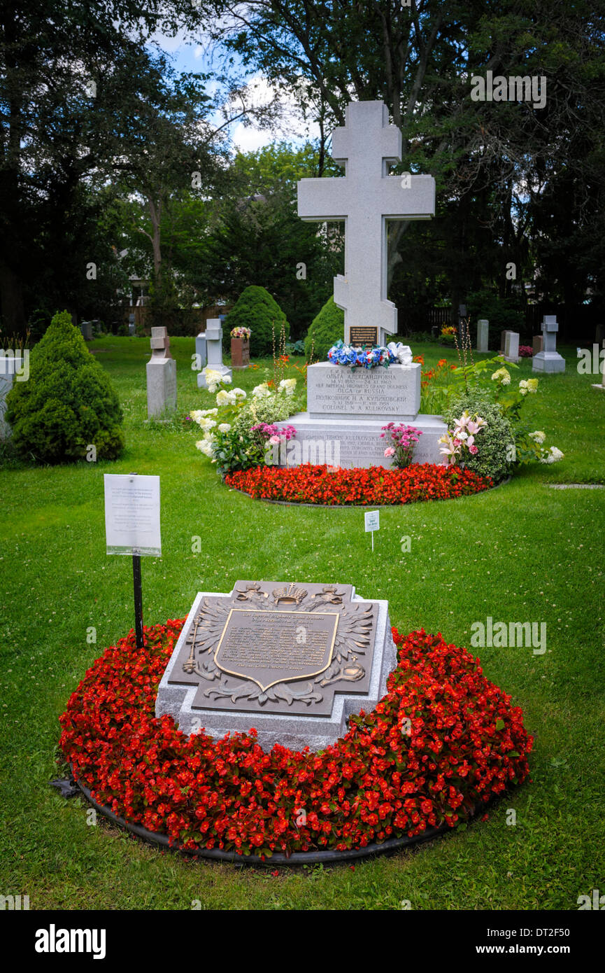Grave of Her Imperial Highness Grand Duchess Olga of Russia and Colonel N.A. Kulikovsky on York Cemetery in Toronto - Stock Image