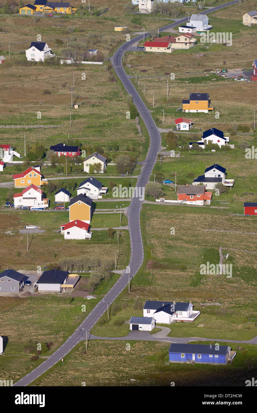 Bird's eye view of Sorland on island of Vaeroy, Lofoten islands in Norway - Stock Image