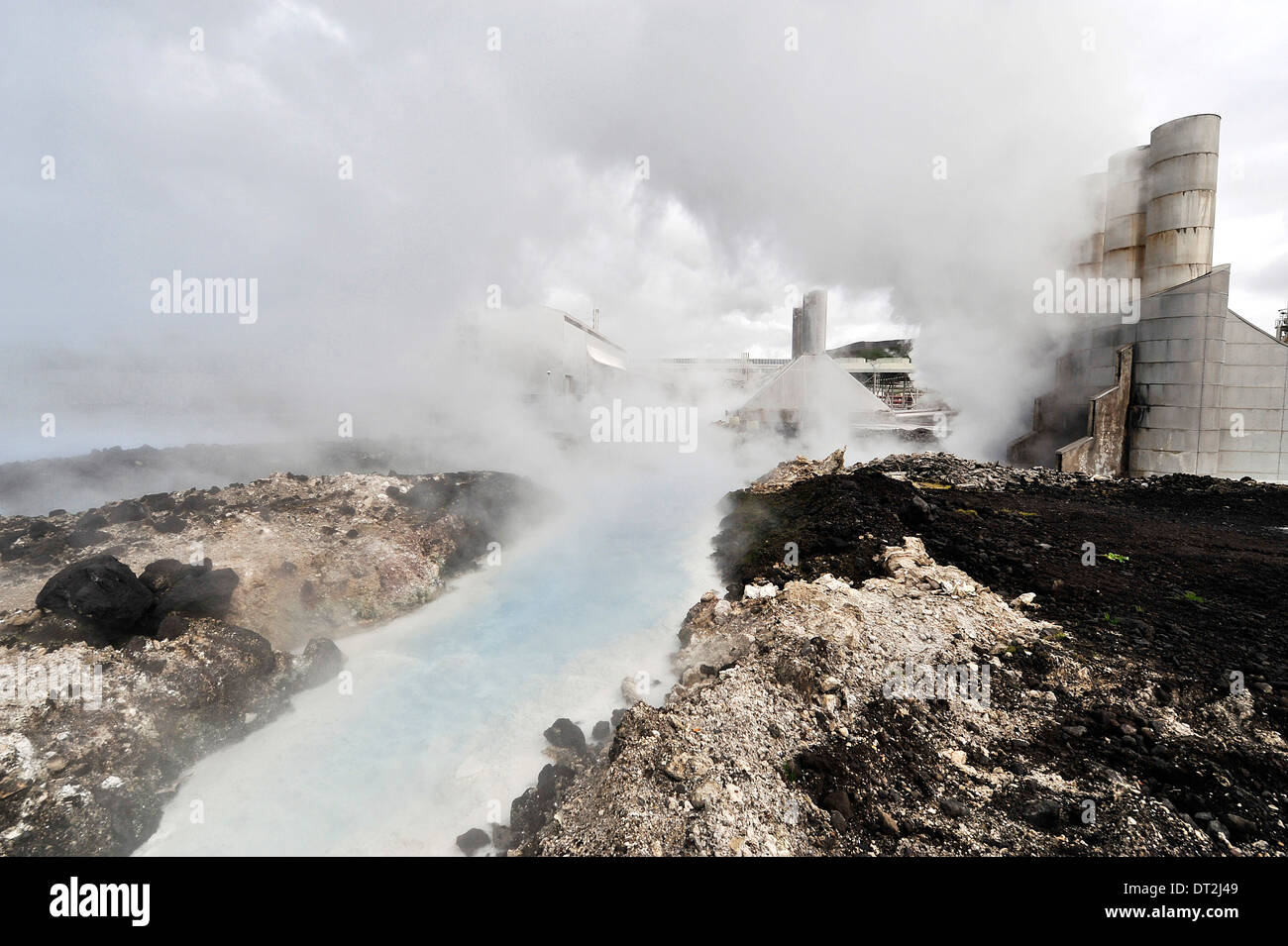 Iceland, Blue Lagoon Area, Geothermic Factories, Rivulets of hot water - Stock Image
