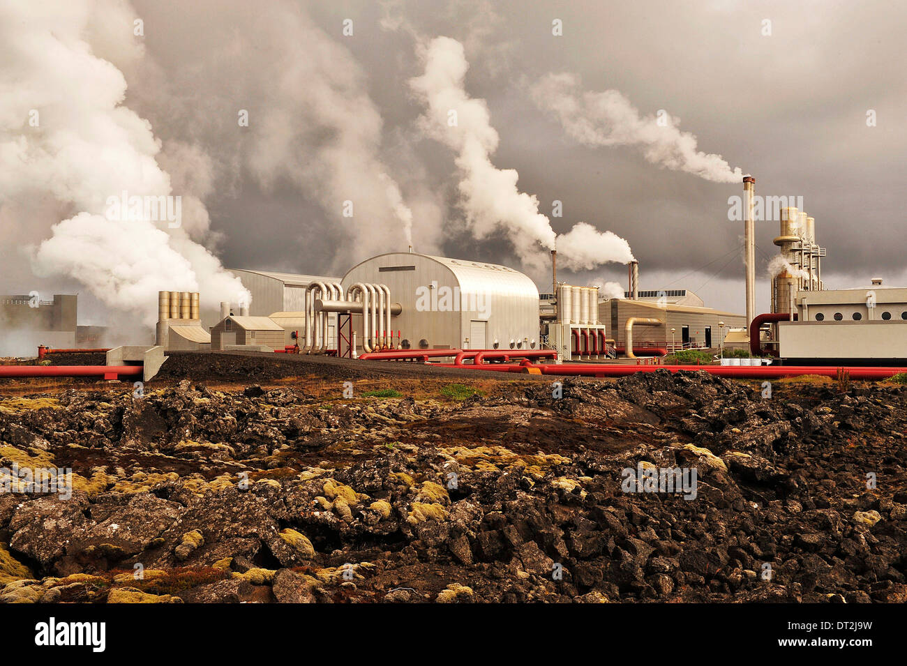Iceland, Blue Lagoon Area, Geothermic Factories - Stock Image