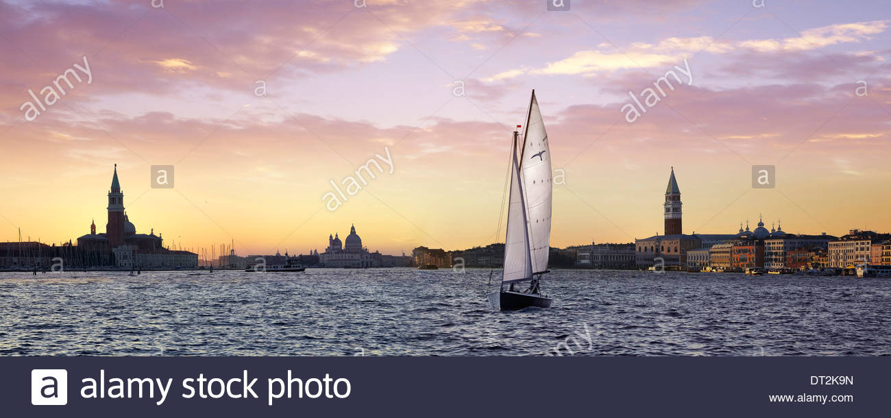 sailing boat in basin of saint mark, venice, italy, europe - Stock Image