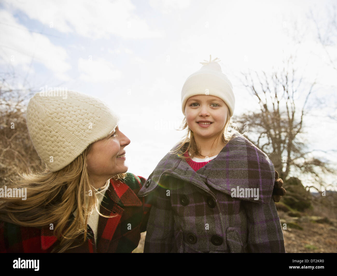 An Organic Farm in Winter in Cold Spring New York State A woman and child wrapped up against the cold weather - Stock Image