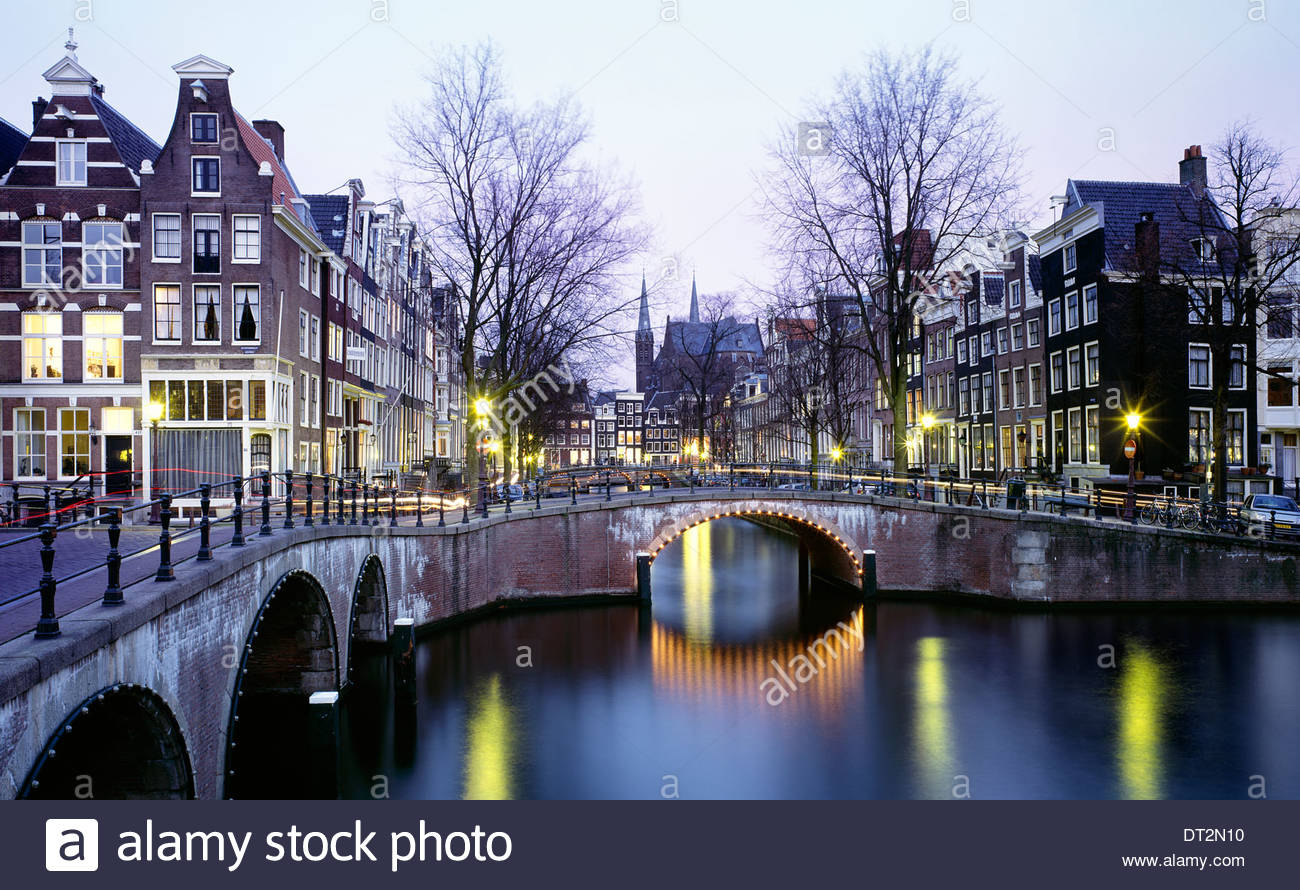 characteristic view of the prinsengracht channel, amsterdam, the netherlands, europe - Stock Image