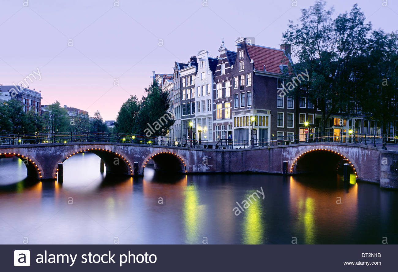 characteristic view of the prinsengracht channel, amsterdam, the netherlands, europe Stock Photo