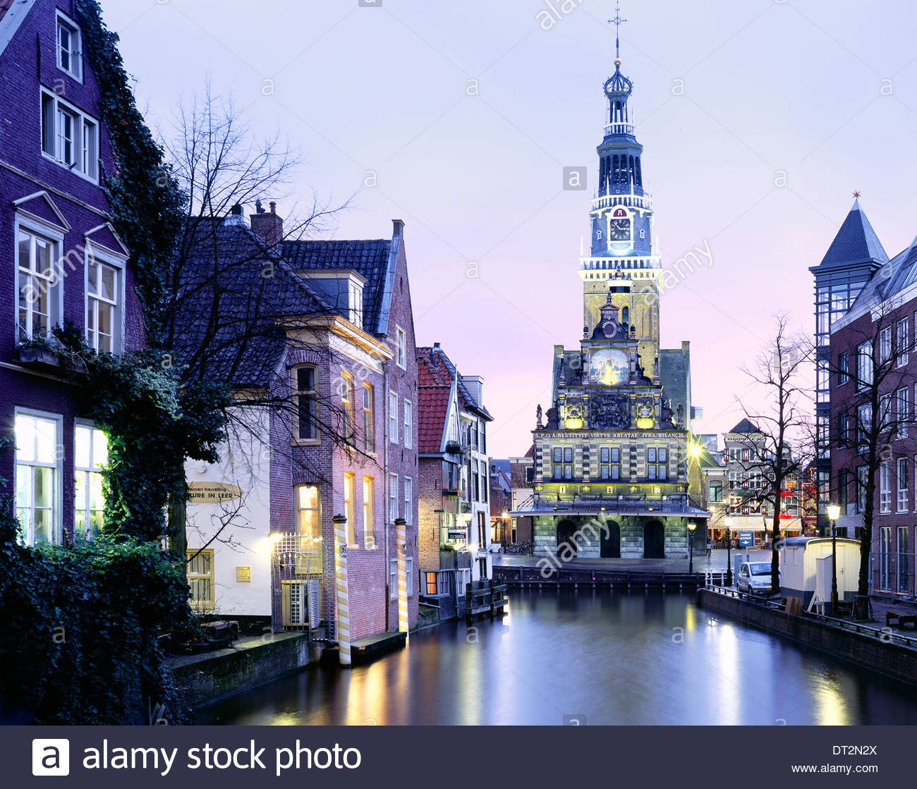 the waaggebouw building in the evening, alkmaar, north holland, the netherlands, europe - Stock Image