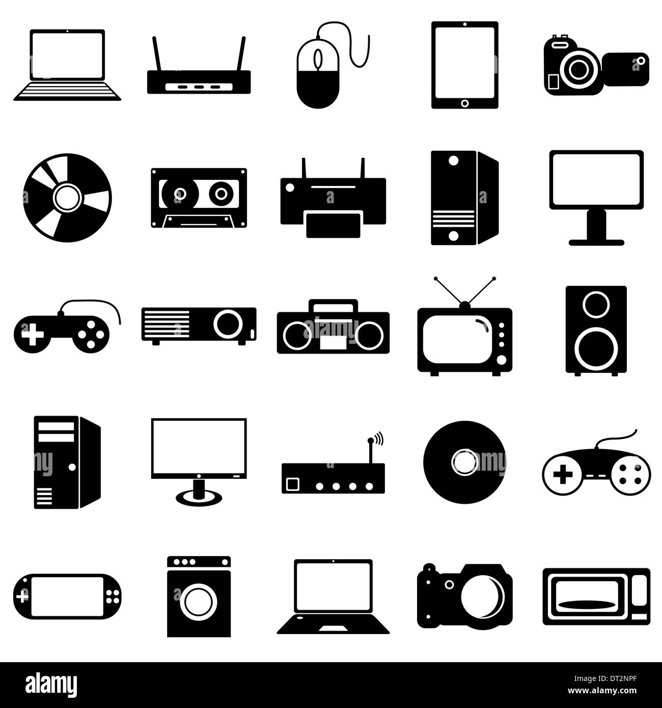 Collection Flat Icons Electronic Devices Symbols Stock Photo